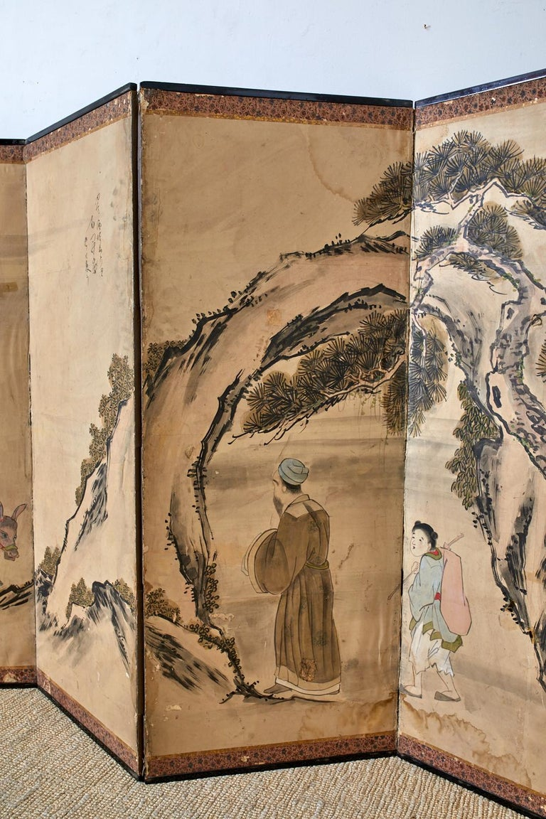 Silk Japanese Meiji Six Panel Screen Chinese Sage on Donkey For Sale