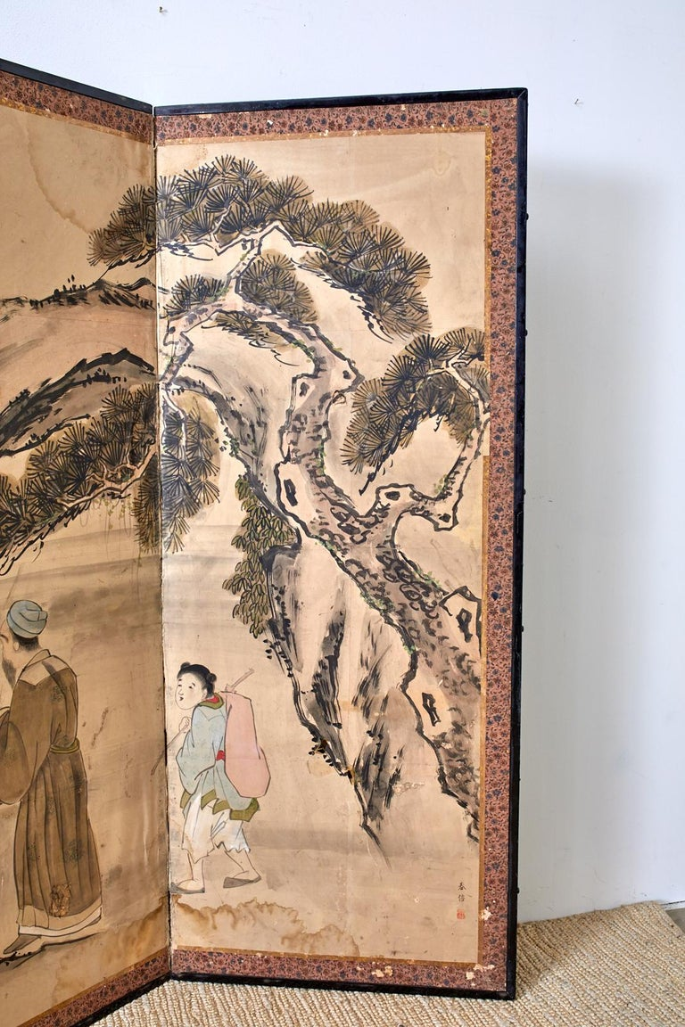 Japanese Meiji Six Panel Screen Chinese Sage on Donkey For Sale 1