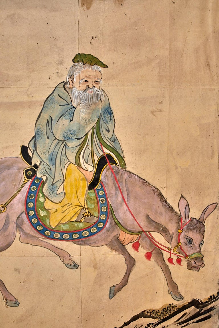 Japanese Meiji Six Panel Screen Chinese Sage on Donkey For Sale 2