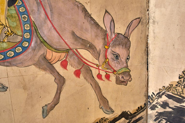 Japanese Meiji Six Panel Screen Chinese Sage on Donkey For Sale 3