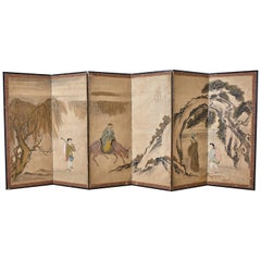 Japanese Meiji Six Panel Screen Chinese Sage on Donkey