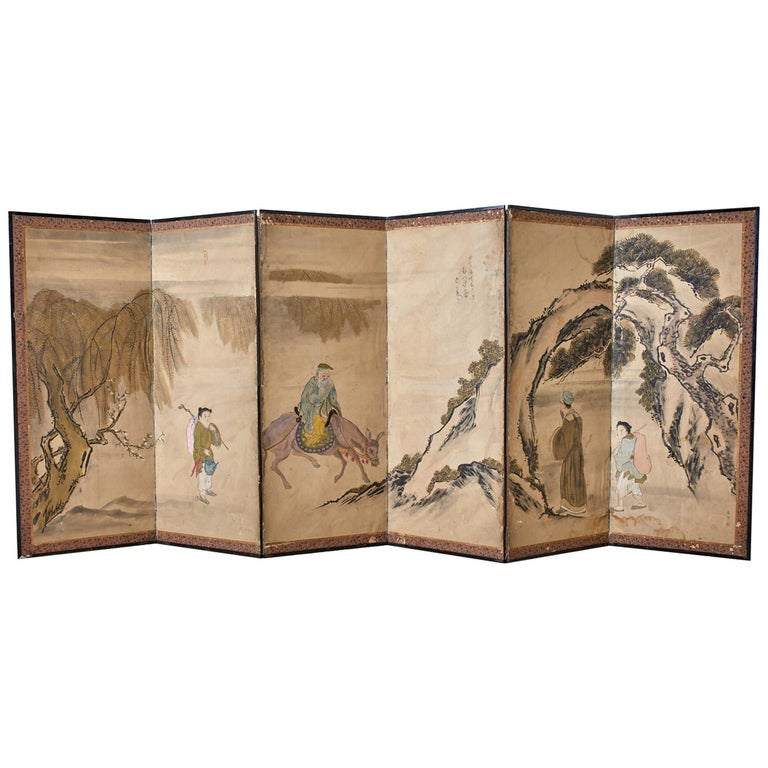 Japanese Meiji Six Panel Screen Chinese Sage on Donkey For Sale