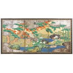 Japanese Meiji Six Panel Screen Ducks in Autumn Landscape