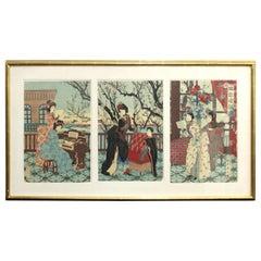 Japanese Meiji Toyohana Chikanobu Woodblock Print Triptych from Plum Garden Set