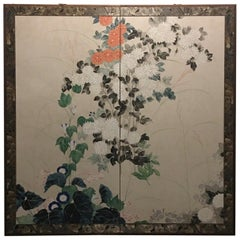 Japanese Two-Panel Folding Screen with Chrysanthemums and Morning Glories