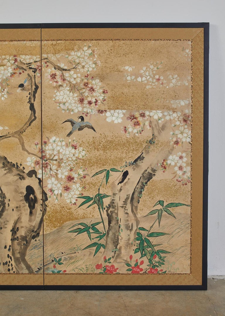 Hand-Crafted Japanese Meiji Two Panel Screen Song Birds in Sakura For Sale