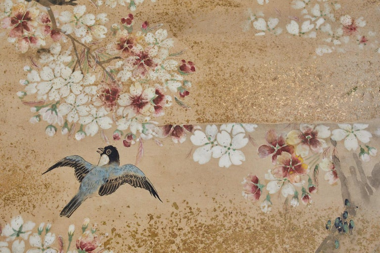 Japanese Meiji Two Panel Screen Song Birds in Sakura In Good Condition For Sale In Oakland, CA