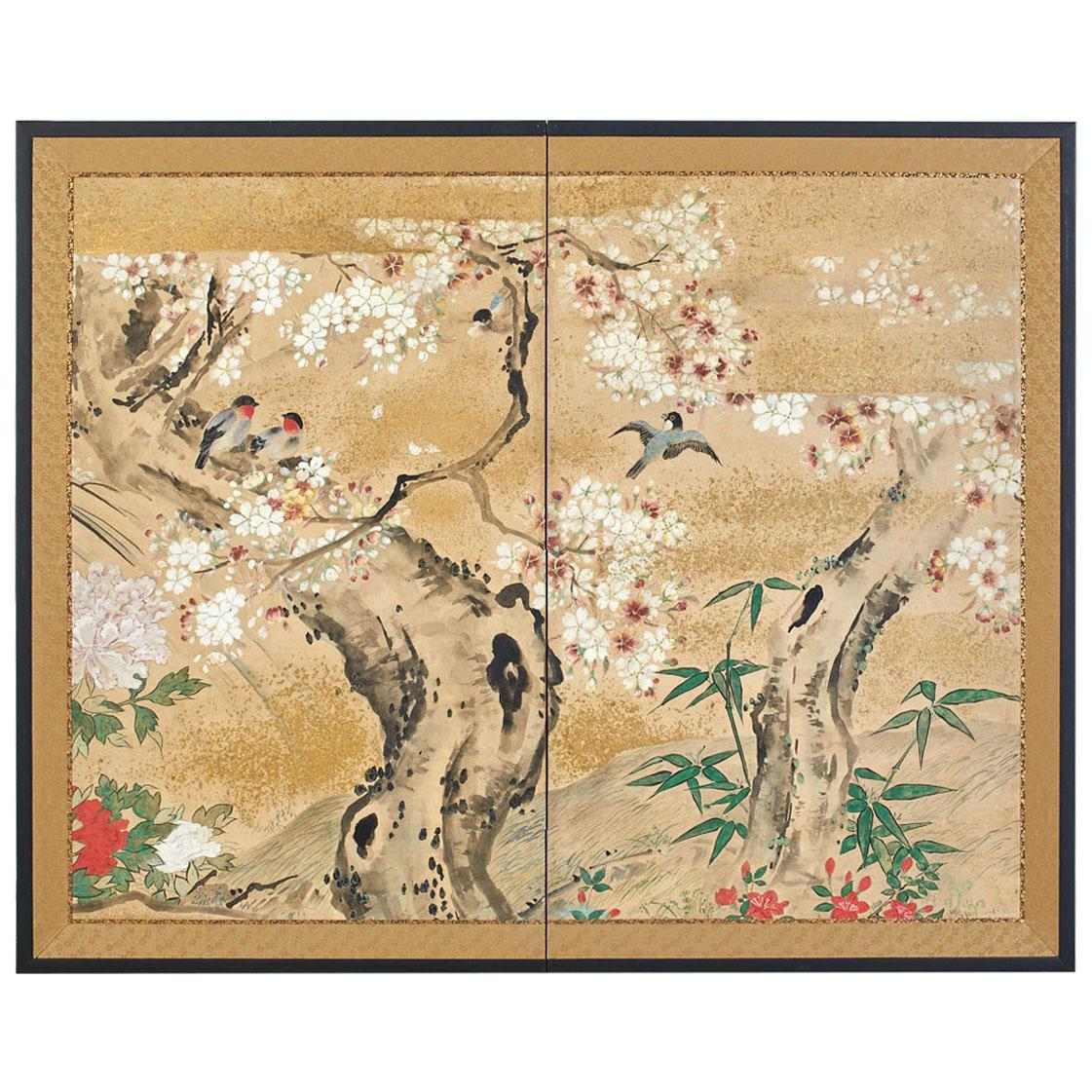 Japanese Meiji Two Panel Screen Song Birds in Sakura