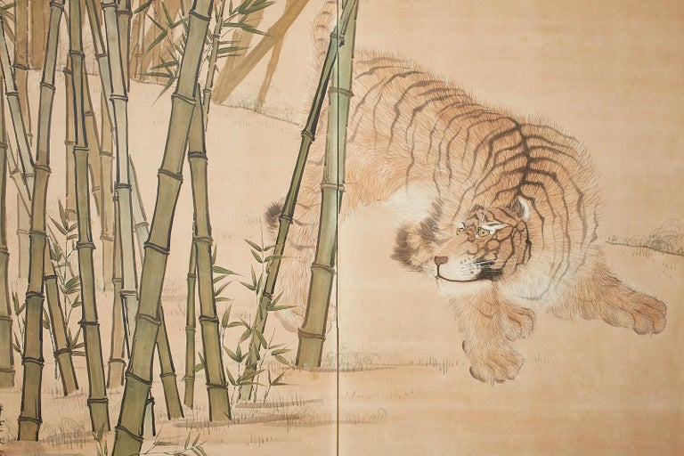 Japanese Meiji Two-Panel Screen Tiger and Bamboo For Sale 7