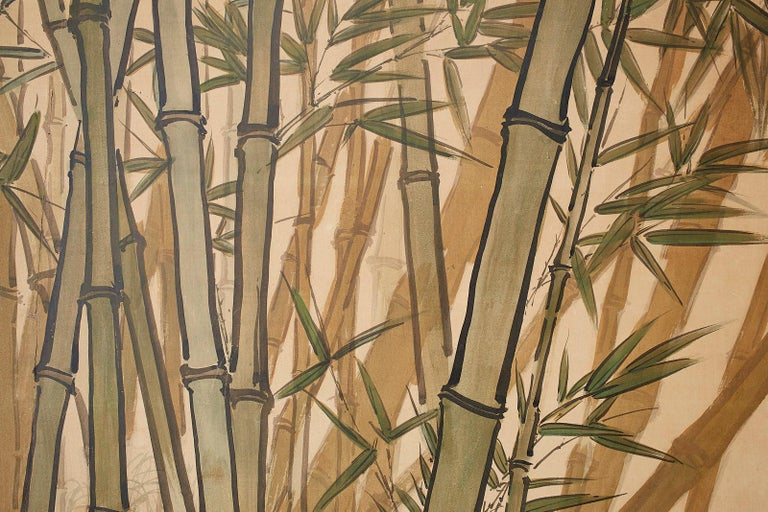 Japanese Meiji Two-Panel Screen Tiger and Bamboo For Sale 9