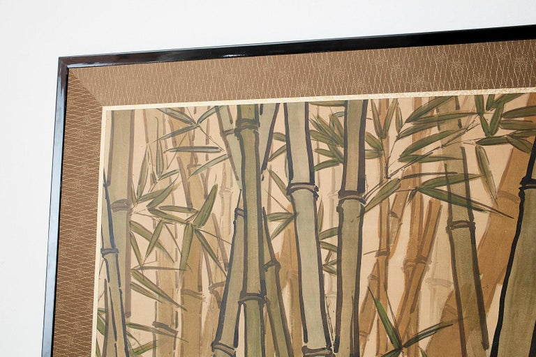 Japanese Meiji Two-Panel Screen Tiger and Bamboo For Sale 11