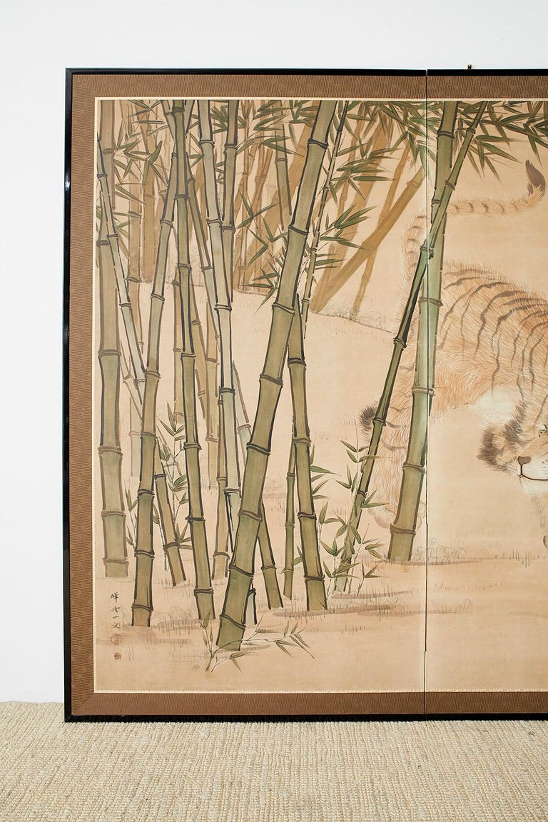 Hand-Crafted Japanese Meiji Two-Panel Screen Tiger and Bamboo For Sale