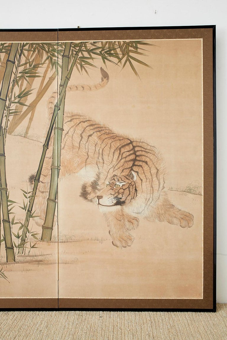 Japanese Meiji Two-Panel Screen Tiger and Bamboo In Good Condition For Sale In Oakland, CA
