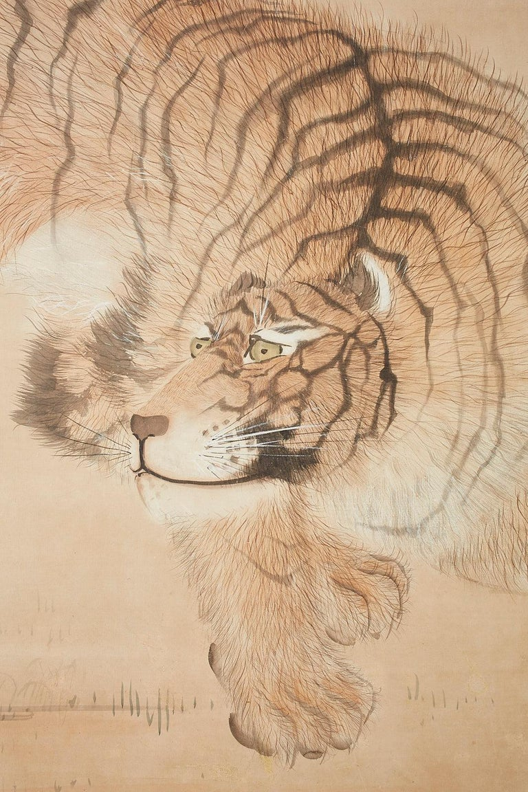 19th Century Japanese Meiji Two-Panel Screen Tiger and Bamboo For Sale