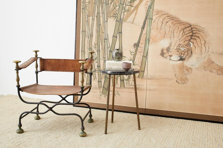 Japanese Meiji Two-Panel Screen Tiger and Bamboo For Sale 1