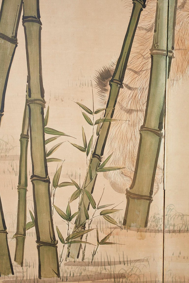 Japanese Meiji Two-Panel Screen Tiger and Bamboo For Sale 2