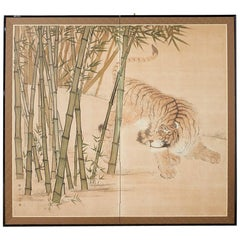 Japanese Meiji Two-Panel Screen Tiger and Bamboo