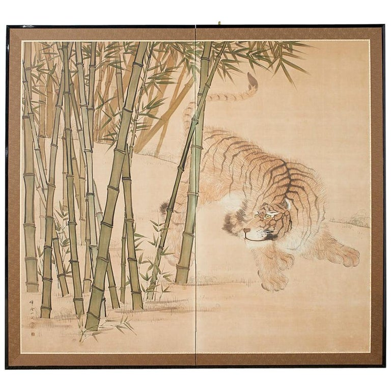 Japanese Meiji Two-Panel Screen Tiger and Bamboo For Sale