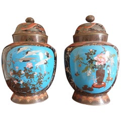 Japanese Meji Period Cloisonné Crane & Bamboo Vases with Scenes of Nature