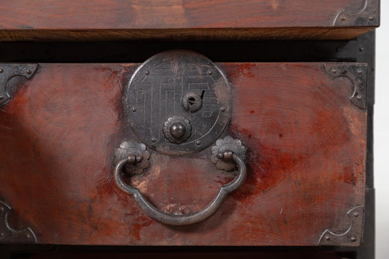 Japanese Meiji Period Tansu Chest in the Sendai Dansu Style Made of Keyaki Wood For Sale 8