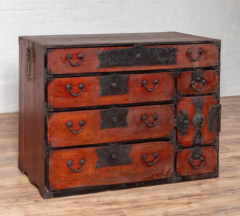 Lacquered Japanese Meiji Period Tansu Chest in the Sendai Dansu Style Made of Keyaki Wood For Sale