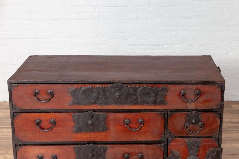 19th Century Japanese Meiji Period Tansu Chest in the Sendai Dansu Style Made of Keyaki Wood For Sale