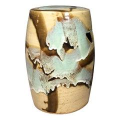 Japanese Midcentury Art Pottery Garden Stool