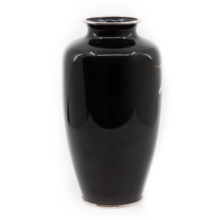 Mid-Century Modern Japanese Midcentury Cloisonné Enamel Baluster Hand Decorated Vase For Sale