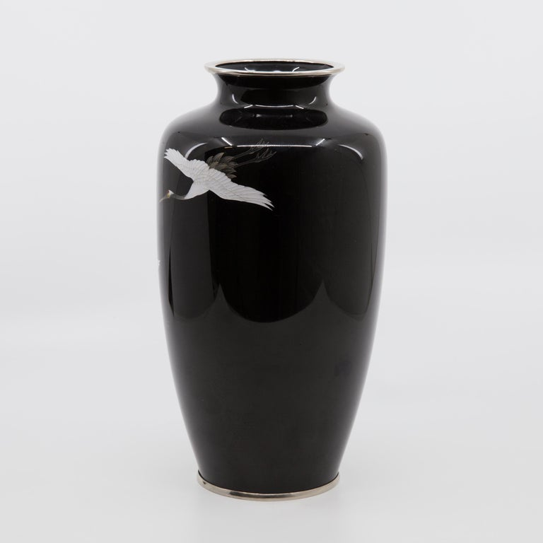 Cloissoné Japanese Midcentury Cloisonné Enamel Baluster Hand Decorated Vase For Sale