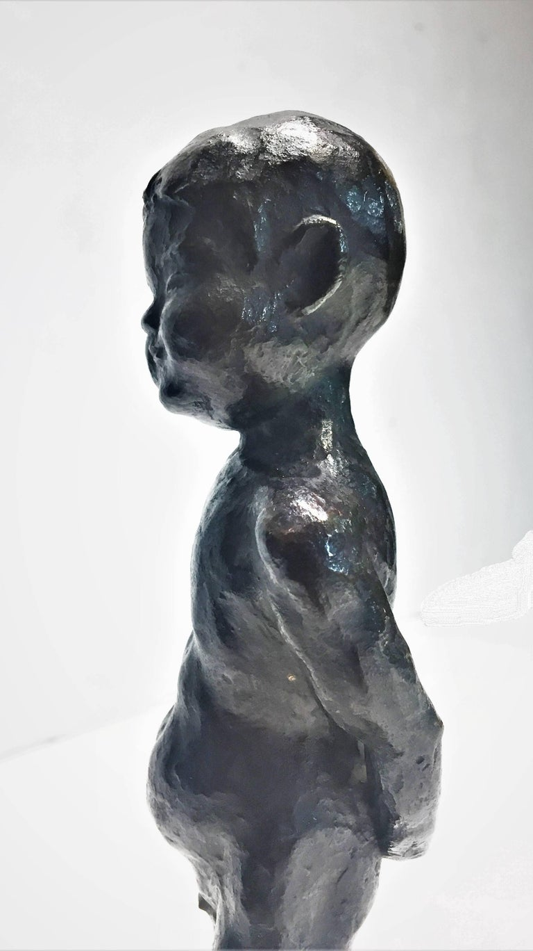 Japanese Mid-Century Modern, Nude Boy, Patinated Bronze Sculpture, 1960s In Good Condition For Sale In New York, NY