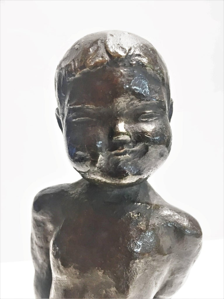 Japanese Mid-Century Modern, Nude Boy, Patinated Bronze Sculpture, 1960s For Sale 1