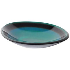 Japanese Midcentury Green Lacquer Bowl in Original Signed Box, circa 1960s