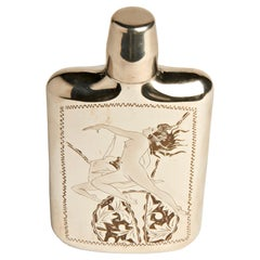 Japanese Midcentury Hand Engraved Chrome Plated Flask with Drinking Cup CAP