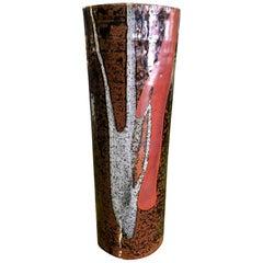 Japanese Midcentury Large Glazed Pottery Vase in the Manner of Shoji Hamada