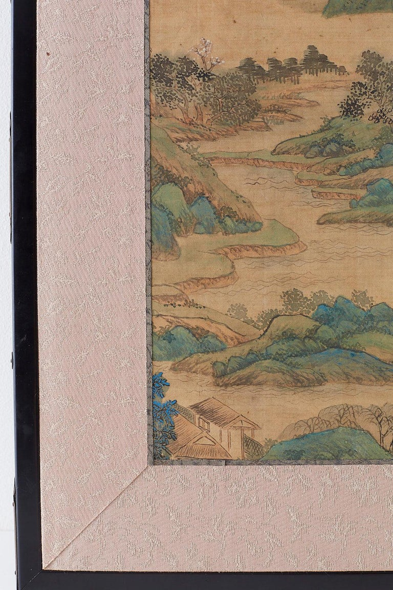 Japanese Miniature Four-Panel Screen Blue and Green Landscape For Sale 4