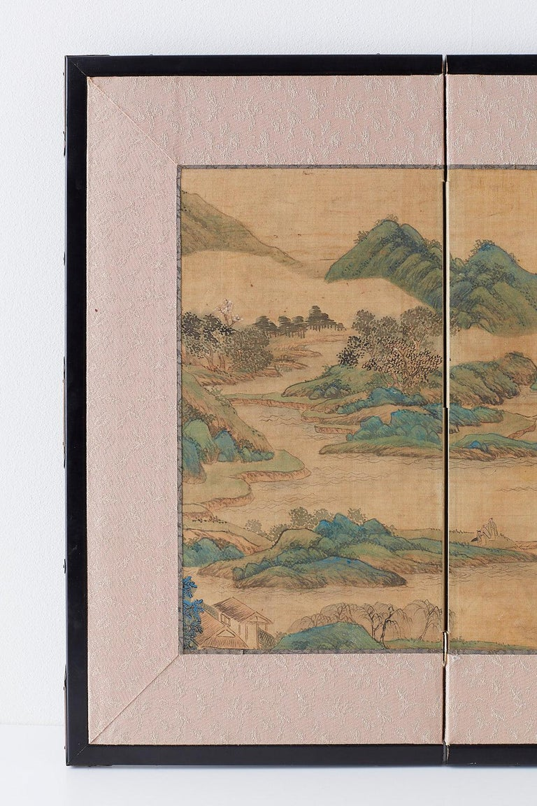 Edo Japanese Miniature Four-Panel Screen Blue and Green Landscape For Sale