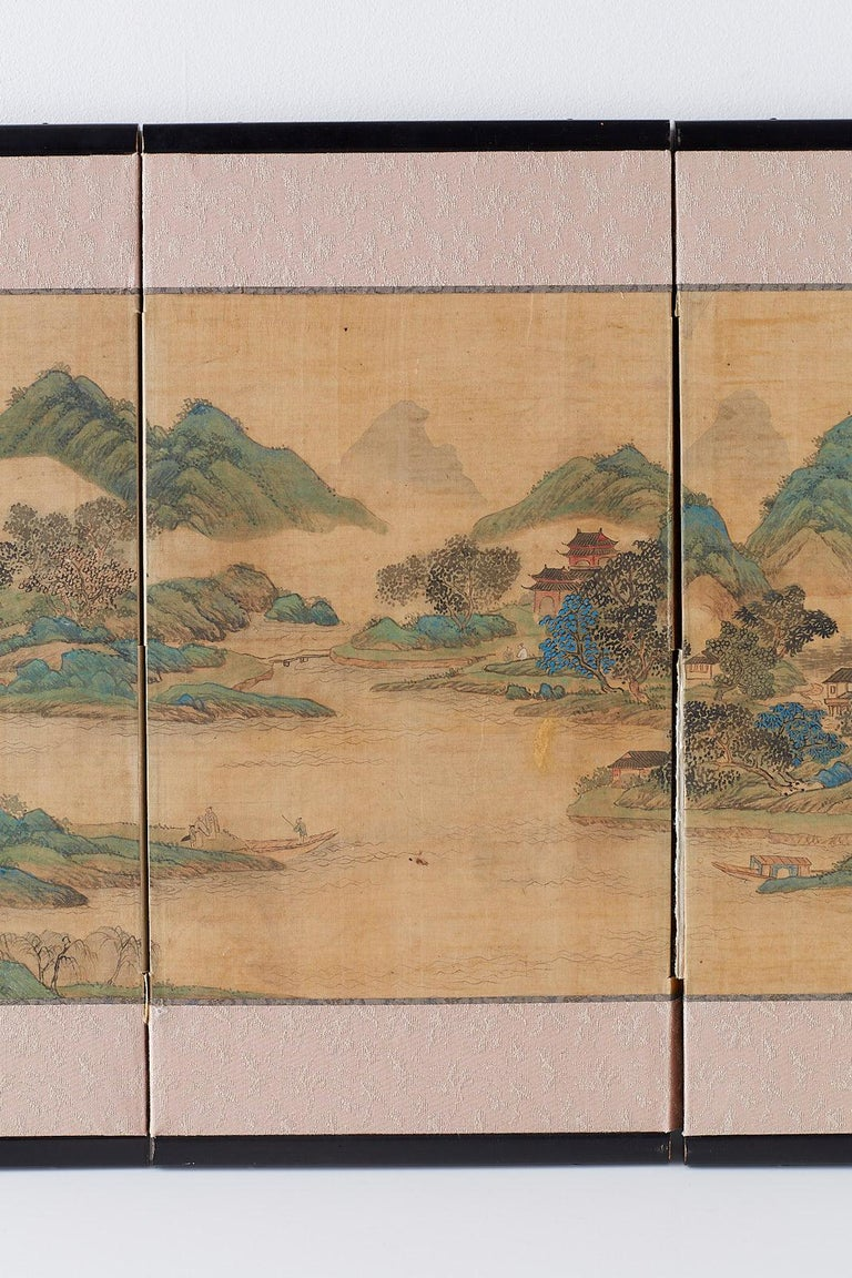 Etched Japanese Miniature Four-Panel Screen Blue and Green Landscape For Sale