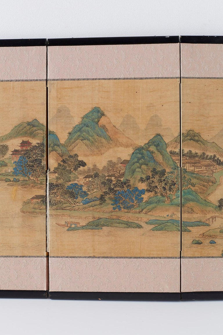 Japanese Miniature Four-Panel Screen Blue and Green Landscape In Good Condition For Sale In Oakland, CA