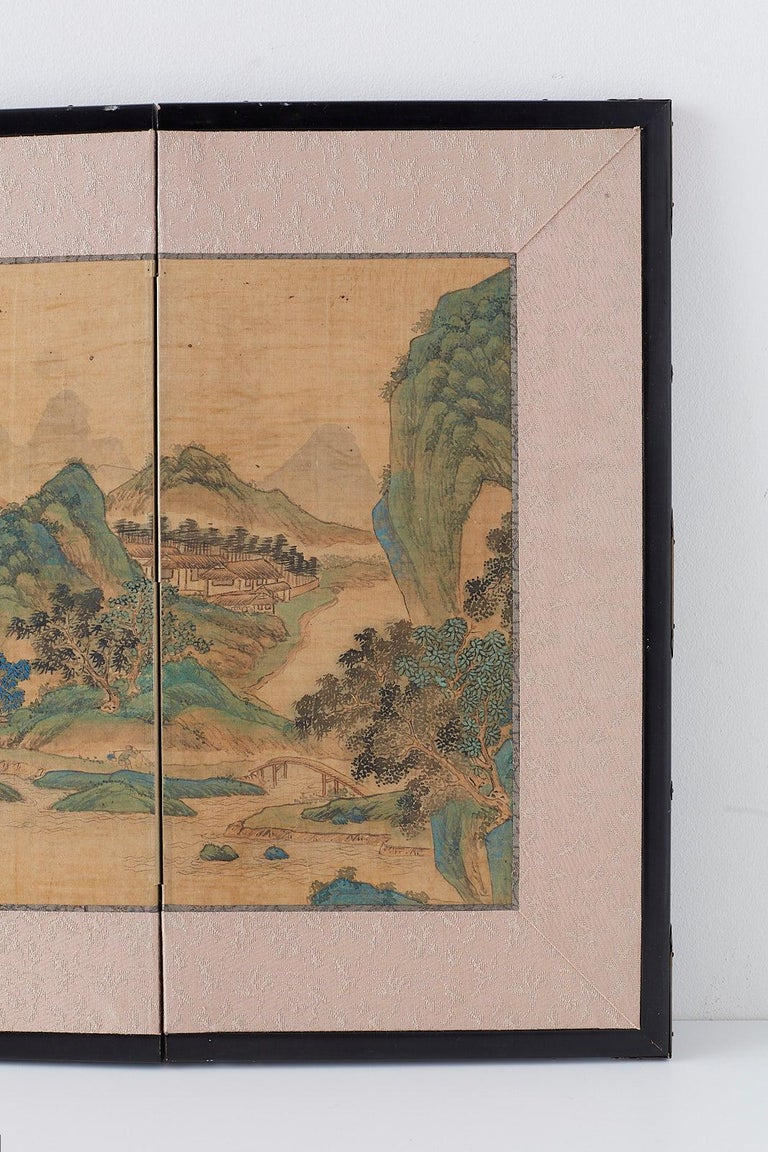 19th Century Japanese Miniature Four-Panel Screen Blue and Green Landscape For Sale