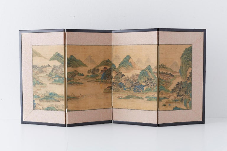 Brass Japanese Miniature Four-Panel Screen Blue and Green Landscape For Sale