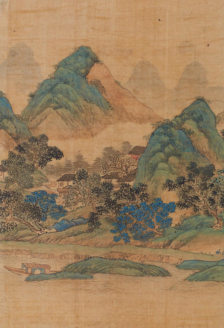 Japanese Miniature Four-Panel Screen Blue and Green Landscape For Sale 1