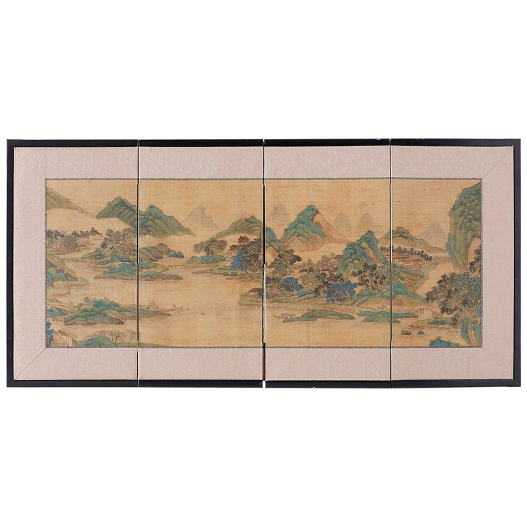 Japanese Miniature Four-Panel Screen Blue and Green Landscape For Sale