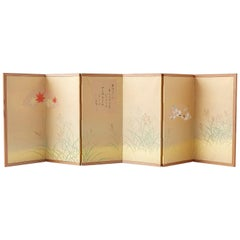 Japanese Miniature Six-Panel Screen Autumn Flowers and Grasses