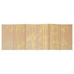 Japanese Miniature Six-Panel Screen Gilt Bamboo Grove