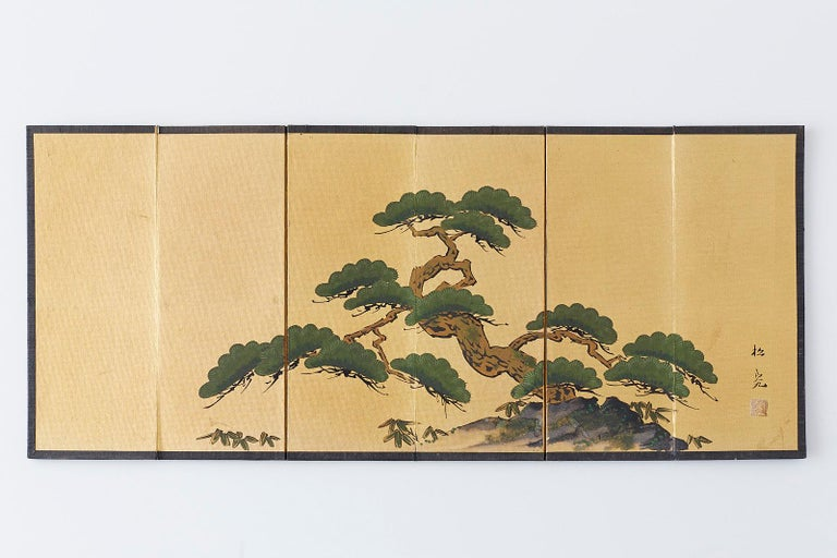 Mid-Century Modern Japanese Miniature Six Panel Screen of Ancient Pine For Sale