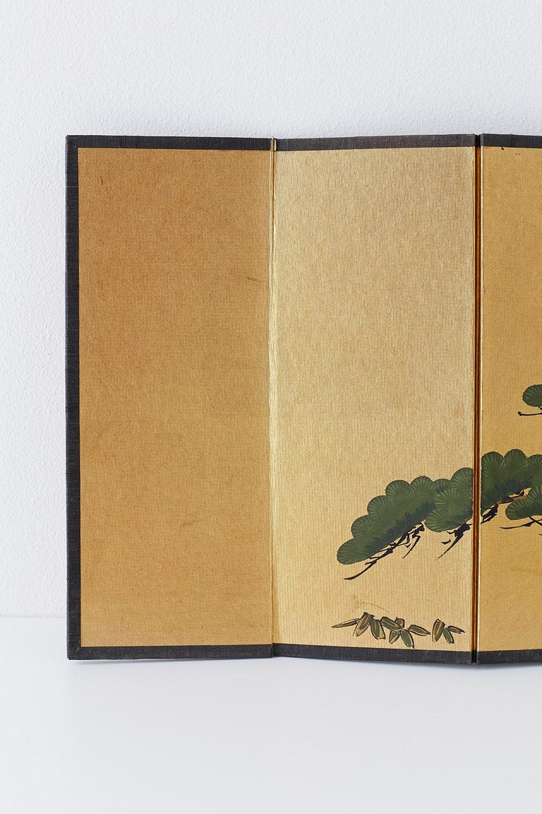 Japanese Miniature Six Panel Screen of Ancient Pine In Good Condition For Sale In Oakland, CA
