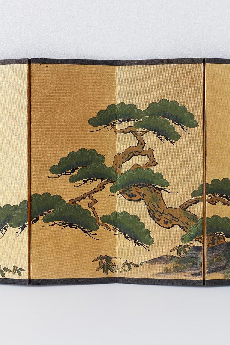 20th Century Japanese Miniature Six Panel Screen of Ancient Pine For Sale