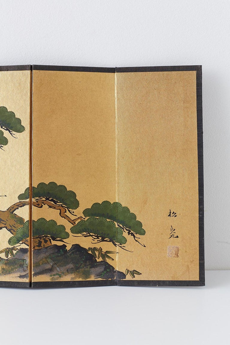 Paint Japanese Miniature Six Panel Screen of Ancient Pine For Sale