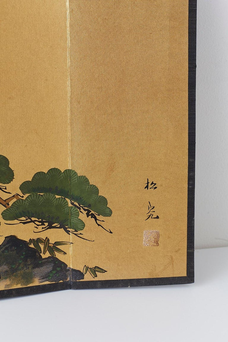 Japanese Miniature Six Panel Screen of Ancient Pine For Sale 1