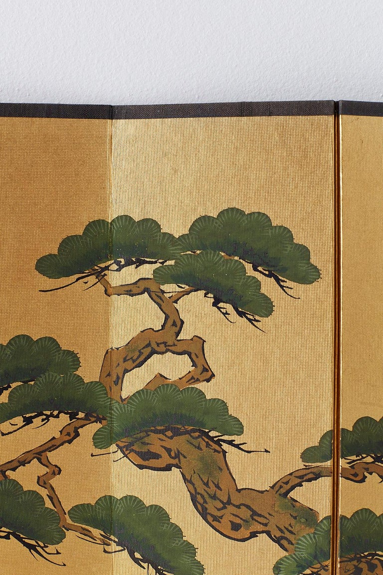 Japanese Miniature Six Panel Screen of Ancient Pine For Sale 2
